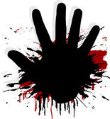 Blood splat with a hand — Stock Vector