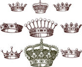 Old crown set — Stock Vector