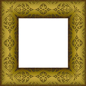 Old beautiful ornated golden antique frame — Stock Vector