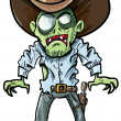 Cartoon cowboy zombie with gun belt and hat — Stock Vector