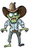 Cartoon cowboy zombie with gun belt and hat — Stock Vector