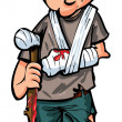 Cartoon injured white man with walking stick and bandages — Stock Vector