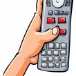 Cartoon hand holding remote contol — Vektorgrafik