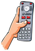 Cartoon hand holding remote contol — Stock Vector