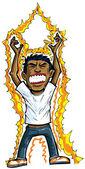 Cartoon of man getting energy — Stock Vector