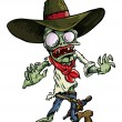 Cartoon cowboy zombie with gun belt and hat. — Stock Vector