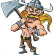 Cartoon Viking with huge axe. — Stock Vector