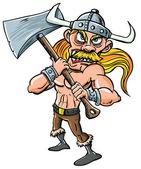 Cartoon Viking with huge axe. — Stock Vector