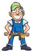 Cartoon handyman with tools. — Stock Vector