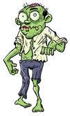 Cute green cartoon zombie. — Stock Vector