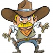 Cute cartoon cowboy with a gun belt. - Stock Vector