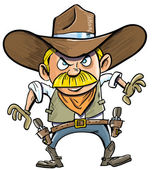 Cute cartoon cowboy with a gun belt. — Stock Vector