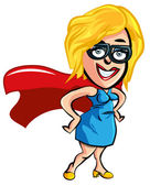 Cartoon superhero office worker lady — Stock Photo