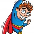 Cute cartoon Superboy flying up - Imagens vectoriais em stock