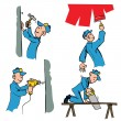 Cartoon set of workman doing different DIY chores — Stock Vector