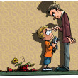 Cartoon of little boy being scolded by his dad — Stock Vector #8032998