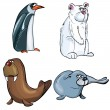 Cartoons of set of artic animals — Stock Vector