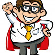 Vettoriale Stock : Cartoon Superhero office nerd