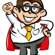 Stock Vector: Cartoon Superhero office nerd