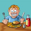 Royalty-Free Stock Vector Image: Cartoon of boy about to eat junk food