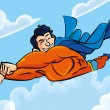 Cartoon superman flying with his cape behind — Stock Vector
