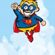 Stock Vector: Cute cartoon Superboy flying up