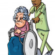 Cartoon of an orderly pushing an old lady - Stock Vector