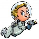 Cute cartoon of spaceman with a lazer gun — Stock Vector