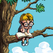 Royalty-Free Stock Imagem Vetorial: Cartoon of little boy in a tree