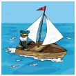 Stock Vector: Cartoon of msailing in small boat