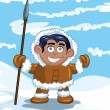 Cartoon eskimo with a spear — Stock Vector #8033163