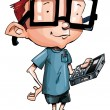Royalty-Free Stock Imagem Vetorial: Cartoon nerd with glasses and a smartphone