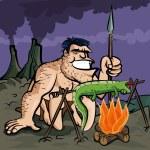 Caveman cooking a lizard over an open fire — Stock Vector #8033185