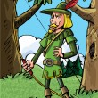 Royalty-Free Stock Vector Image: Cartoon Robin Hood in the woods