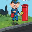 Постер, плакат: Cartoon postman by a mailbox