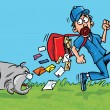 Cartoon postman running away from a dog — Stockvektor
