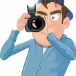 Cartoon paparazzi with a camera — Stock Vector