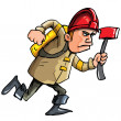 Cartoon fireman running with an axe — Stock Vector
