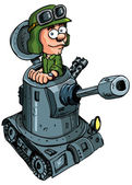 Cartoon soldier in a small tank — Stock Vector
