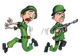 Carging soldier and a fleeing soldier — Stock Vector