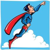 Cartoon Superman flying up and away — Stock Vector