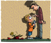 Cartoon of little boy being scolded by his dad — Stock Vector