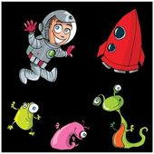 Cartoon boy astronaut with his spaceship — Stock Vector