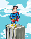 Cartoon superman on a building top — Stock Vector