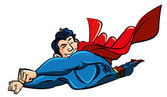 Cartoon superman flying with his cape billowing behind — Stock Vector