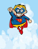 Cute cartoon Superboy flying up — Stock Vector