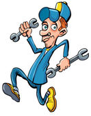 Cartoon mechanic running with his tools — Stock Vector