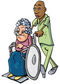 Cartoon of an orderly pushing an old lady — Stock Vector