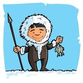 Cartoon eskimo with a spear and a fish — Stock Vector