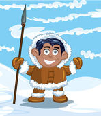 Cartoon eskimo with a spear — Stok Vektör